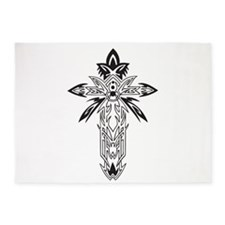 Black and White Cross 5'x7'Area Rug