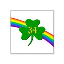 "Rainbow Shamrock 34 Square Sticker 3"" x 3"""