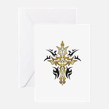 Gold Cross Greeting Card