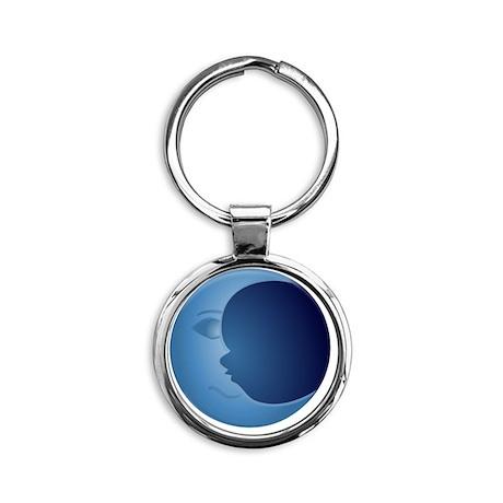 Blue Moon Round Keychain