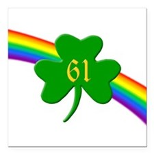 "Rainbow Shamrock 61 Square Car Magnet 3"" x 3"""