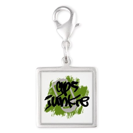 GPS Junkie Silver Square Charm