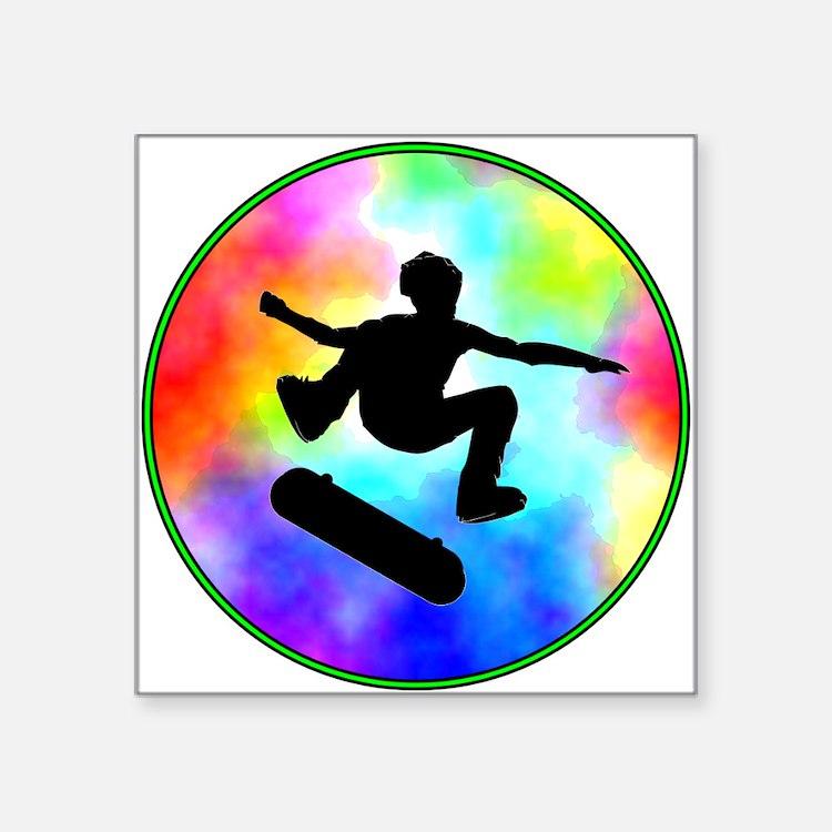 "skater tie-dye.png Square Sticker 3"" x 3"""