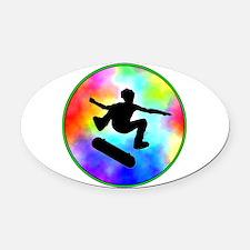 skater tie-dye.png Oval Car Magnet