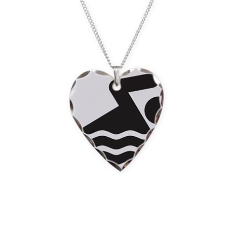 Swimmer Necklace Heart Charm