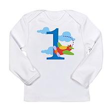 1st Birthday Airplane Long Sleeve Infant T-Shirt
