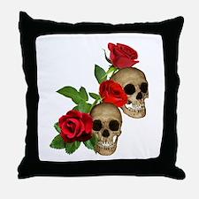 Skulls Roses Throw Pillow
