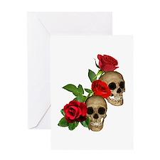 Skulls Roses Greeting Card