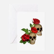 Skulls Roses Greeting Card