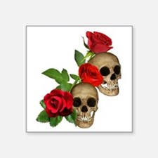 "Skulls Roses Square Sticker 3"" x 3"""