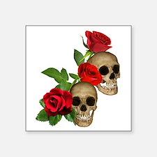 "Skulls Roses Square Sticker 3"" x 3"""