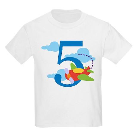 5th Birthday Airplane Kids Light T-Shirt