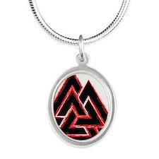 Valknut (red) Silver Oval Necklace
