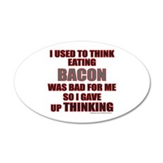 EATING BACON 20x12 Oval Wall Decal