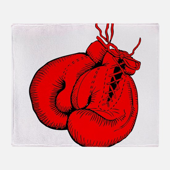 Red Boxing Gloves Throw Blanket