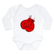 Red Boxing Gloves Long Sleeve Infant Bodysuit