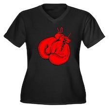 Red Boxing Gloves Women's Plus Size V-Neck Dark T-