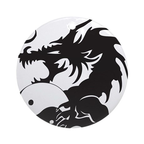 Yin Yang Dragon Ornament (Round)