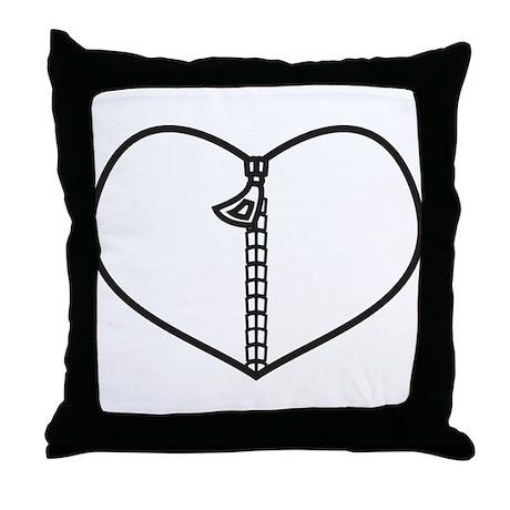 Zipper Heart Throw Pillow by AwesomeGiftIdeas
