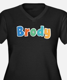 Brody Spring11B Women's Plus Size V-Neck Dark T-Sh