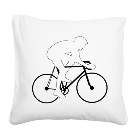 Cycling Silhouette Square Canvas Pillow