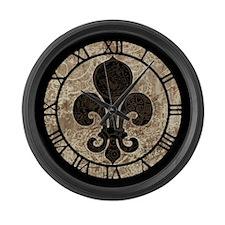 Clockwork Fleur De Lis Large Wall Clock