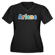 Arlene Spring11B Women's Plus Size V-Neck Dark T-S