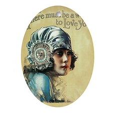 Vintage Music Art Girl In Bonnet Ornament (Oval)