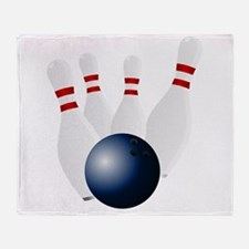 Bowling Pins Knocked Down Throw Blanket