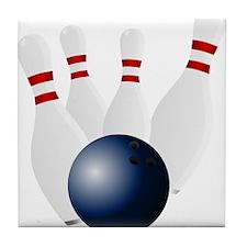 Bowling Pins Knocked Down Tile Coaster