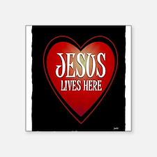 jesus lives here art illustration Square Sticker 3
