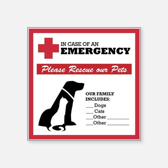 In Case of Emergency: Pet Rescue Sticker Square St