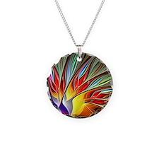 Fractal Bird of Paradise 2 Necklace Circle Charm