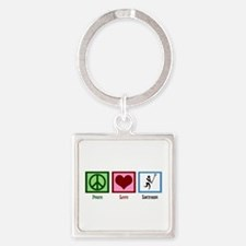 Peace Love Lacrosse Square Keychain