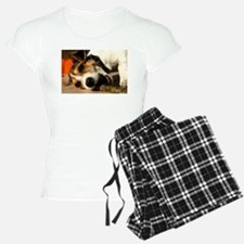 Jack Russell Terrier Puppy Chewing Stick Pajamas