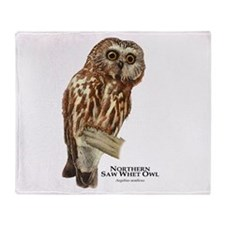 Northern Saw-Whet Owl Throw Blanket