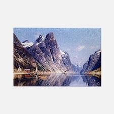 A Norwegian Fjord Scene Rectangle Magnet
