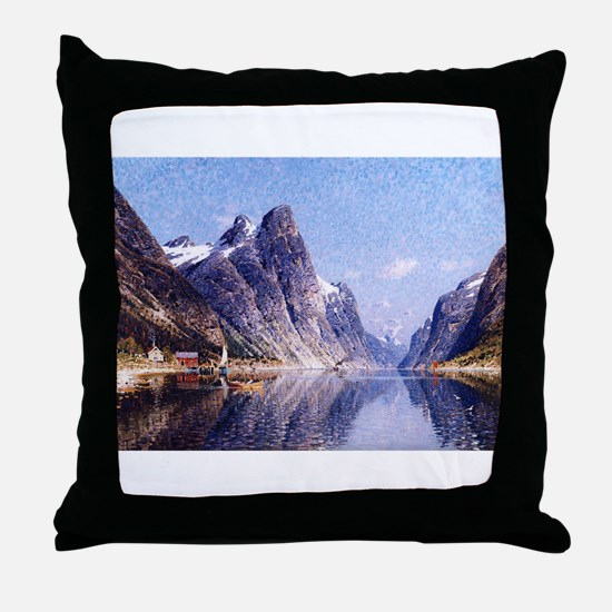 A Norwegian Fjord Scene Throw Pillow