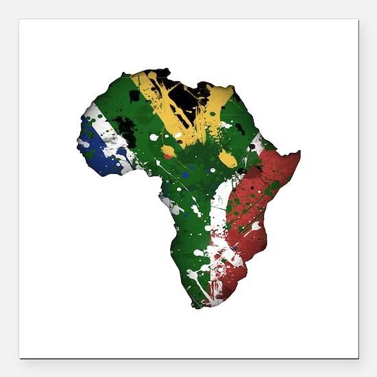 """Afrika Graffiti Square Car Magnet 3"""" x 3"""""""