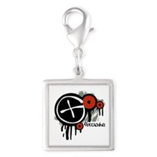 Geocaching Vector Design Silver Square Charm