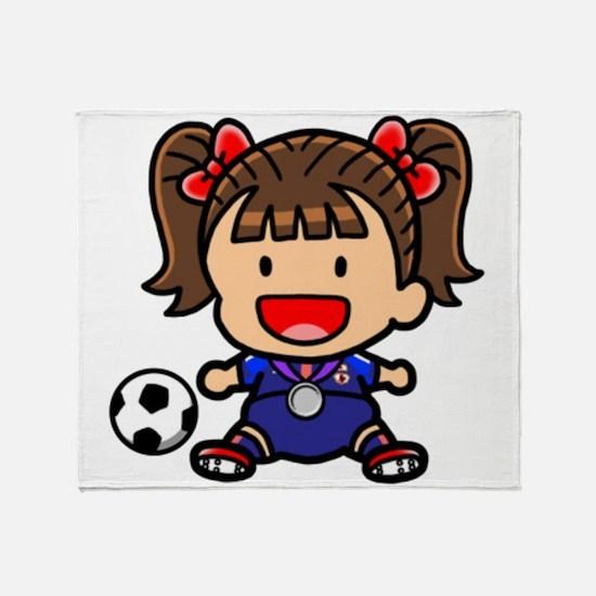 Baby Girl Soccer Player Throw Blanket