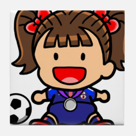 Baby Girl Soccer Player Tile Coaster