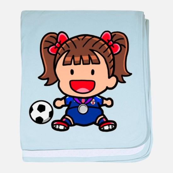 Baby Girl Soccer Player baby blanket