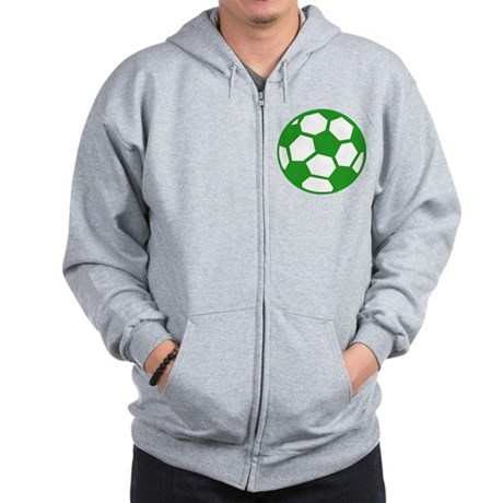 Green Soccer Ball Zip Hoodie
