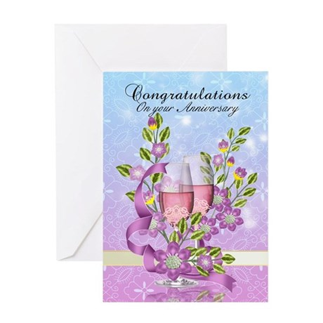 Wedding Anniversary Greeting Card With Pink Champa