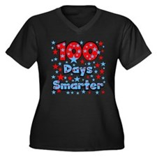 100 Days Smarter Women's Plus Size V-Neck Dark T-S