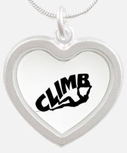 Rock Bouldering Silver Heart Necklace