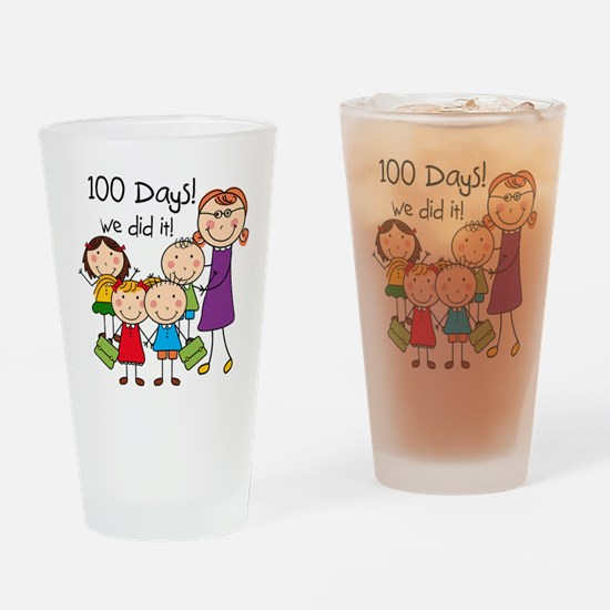 Kids and Female Teacher 100 Days Drinking Glass