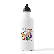 Kids and Female Teacher 100 Days Water Bottle