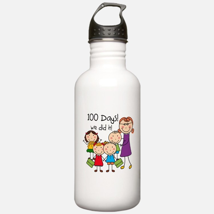 Kids and Female Teacher 100 Days Water Bottle